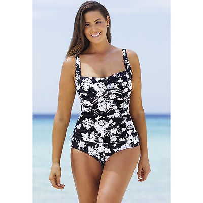 cf4c73b441 NWT - SWIMSUITS FOR ALL BEACH BELLE 'NIGHT BLOSSOM' SHIRRED ONE PIECE - 12
