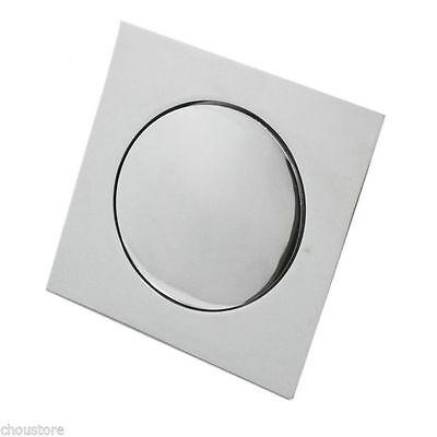 Chrome Square Bathroom Floor Drain Press Pop Up Shower Drainer Grate For Bath
