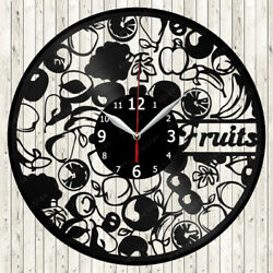 Fruits Vinyl Record Wall Clock Decor Handmade 1671
