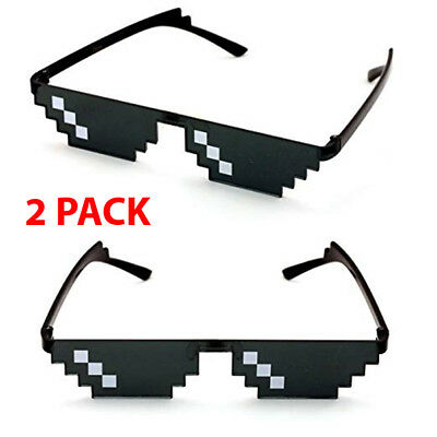 2 Pack Thug Life Sunglasses 8 Bit Pixel Deal With IT Glasses Sunglasses Digital - 8 Bit Sunglasses