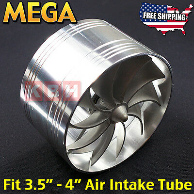 - Air Intake Fan Turbo Supercharger Turbonator Gas Fuel Saver fit 3.5 to 4 inches