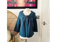 Editions women's blue/green cardigan size 12/14
