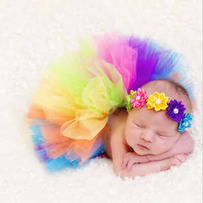 Newborn Baby Girl Boy Rainbow Skirt Photo Photography Props Outfits Costume  New