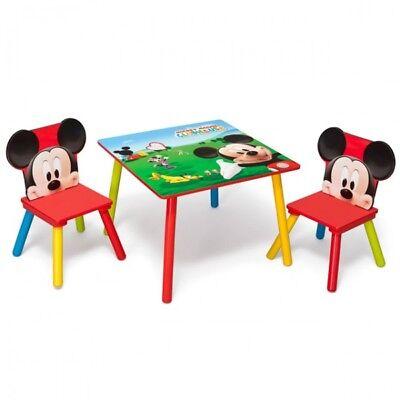 Disney Mickey Maus Kindertisch mit 2 Stühle 60x60cm Holz Kinder Sitzgruppe Möbel