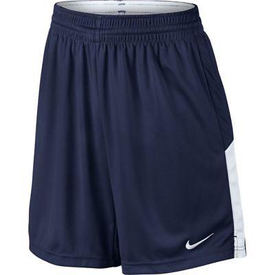 New Nike Boy's L Face Off Stock Lacrosse Shorts Navy Blue White -