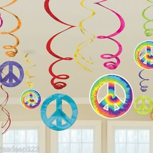 60s 1960s groovy hanging swirls party decorations peace for 60s party decoration