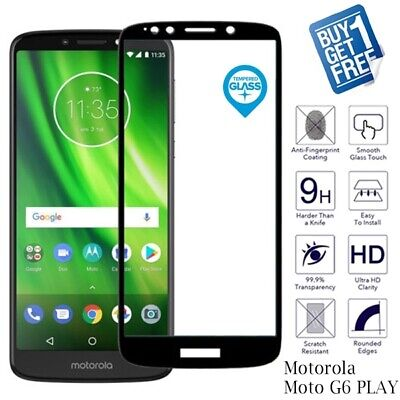 2x For Motorola Moto G6 Play Black Genuine Tempered Glass Screen Cover Protector