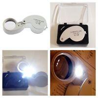 LED Illuminated Jeweler's Loupe Magnifying Glass