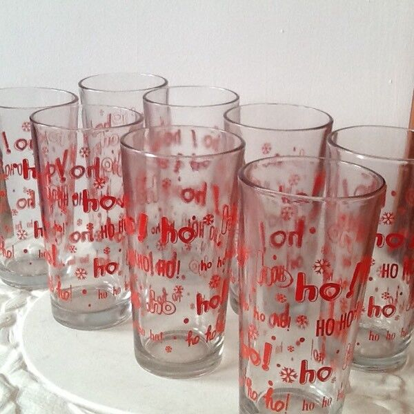 🎄Set of 8 highball Christmas glasses New Ho Ho Ho