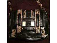 River island black and cream/black croc effect small handbag