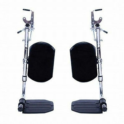 Invacare Wheelchair Elevating Foot Leg Rest w/ Padded Calf Pad & Footplates-Pair