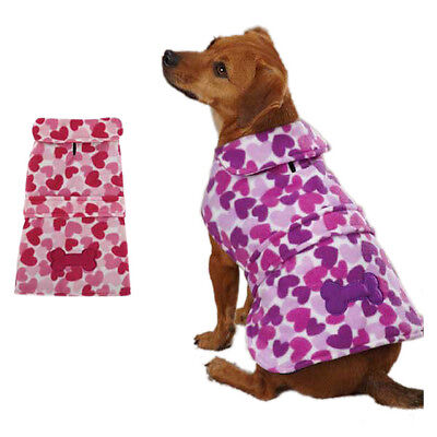 Soft Dog Coat Fleece Jacket Barn Style Pink or Purple Hearts CLEARANCE