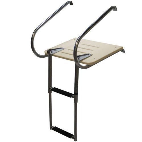 2 Steps S.S Telescoping Inboard Fiberglass Ladder With Platform & Handrail Fine