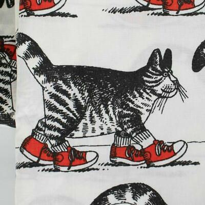 Vintage B Kliban Cool Cat Red Sneakers Shoes Twin Flat Sheet Fabric