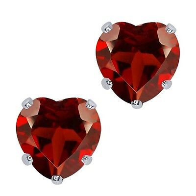1.80 Ct Heart Shape 6mm Red Garnet 10K White Gold Stud Earrings