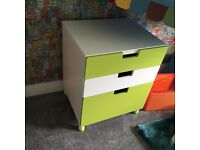 IKEA drawer set in green and white