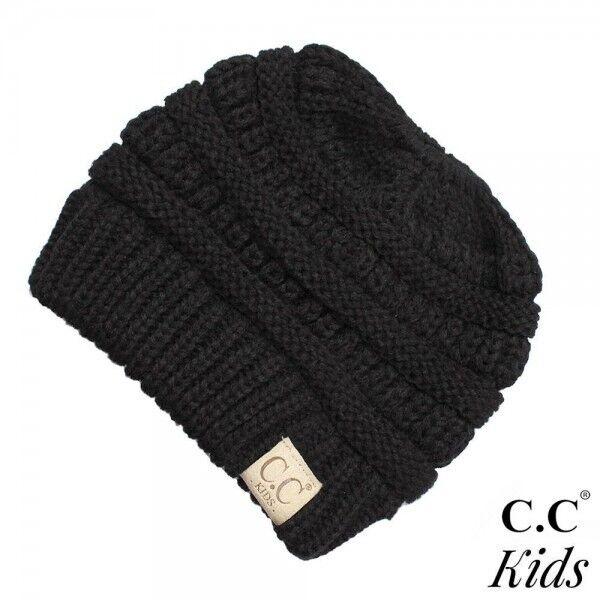 C.C Messy Bun Beanie For Kids - Black