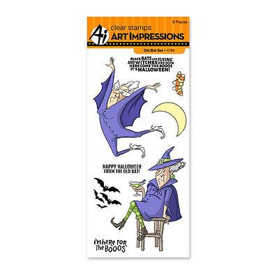 Halloween Old Bat, Clear Unmounted Rubber Stamp Set ART IMPRESSIONS - New 4784 - Halloween Bat Arts Crafts