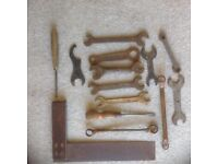 Vintage tools and spanners, square ect