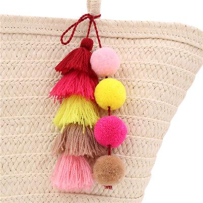 1pc Colorful Boho Pom Pom Key Chain Bag Accessories Tassel B