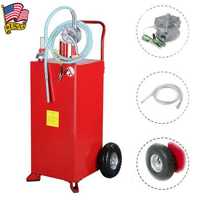 Portable 30 Gallon Gas Caddy Automotive Fluid Gasoline Fuel Transfer Tank Wpump