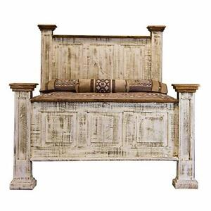 Tall headboard antique white wash rustic pine bed