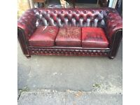 Chesterfield oxblood leather sofa