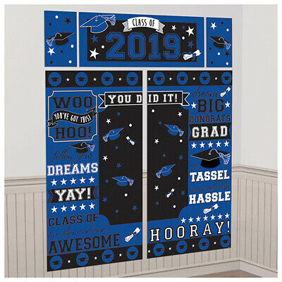 Graduation Class of 2019 Scene Setter Blue Wall Backdrop Party Decorations Grad