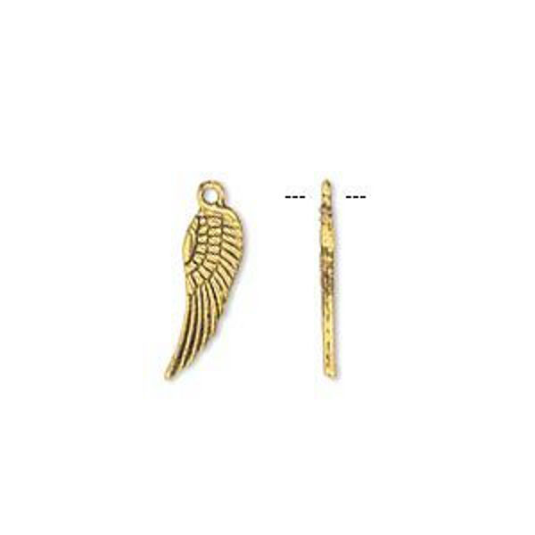 Wing Charms Gold Steampunk Antiqued 15mm Lot of 20