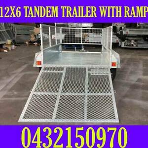 12x6 galvanised tandem box trailer with cage and ramp 70x50 chassis sa