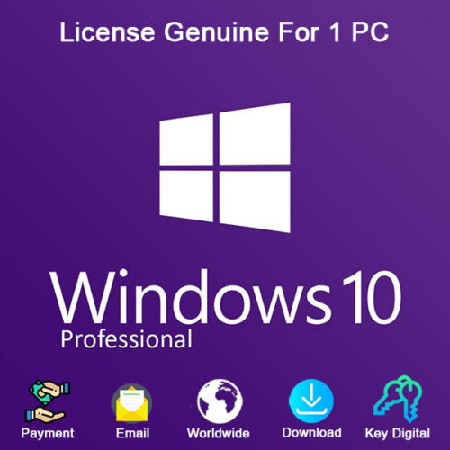 Windows 10 Pro Key 32 and 64 bit For 1 PC Activation Genuine