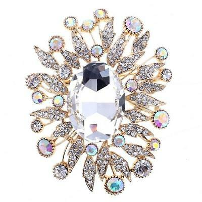 "2.75"" Gold Tone Clear and AB Rhinestone Oval Burst Brooch Pin"