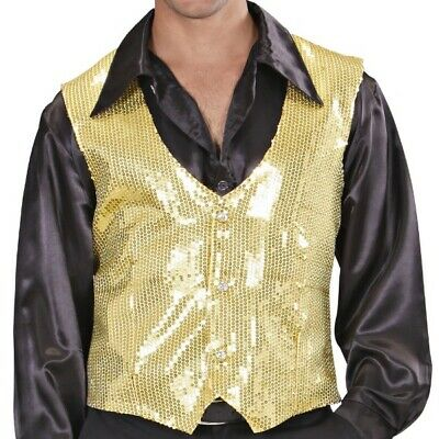 Herren Pailletten Weste Gold  XL (54/56) für Show Party Theater Variete - Gold Weste Kostüm