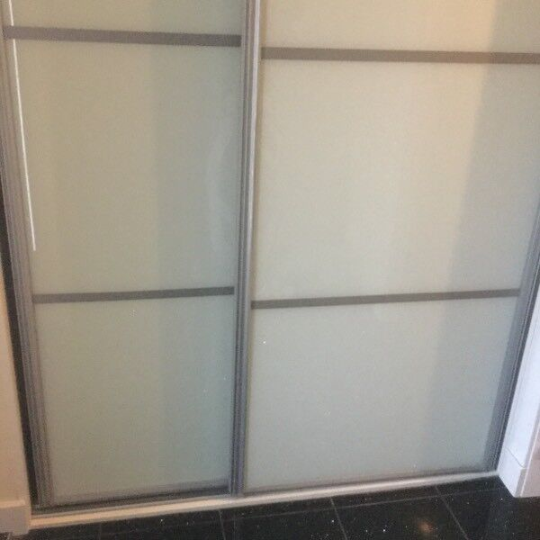 2 White Glass Sliding Wardrobe Doors 2286mm X 1270mm In Bucksburn
