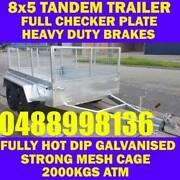 8X5 GALVANISED TANDEM TRAILER WITH CAGE CRATE BOX TRAILER sa Elizabeth West Playford Area Preview