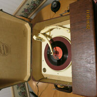 Vintage Antique 60 yr old Portable Record Player 1954 + stand