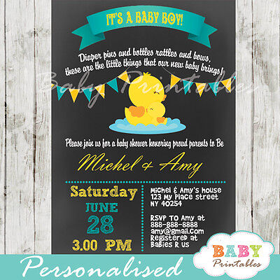 Rubber Duck Baby Shower Invitation for Boys - Printable Digital File](Rubber Duck Invitations)