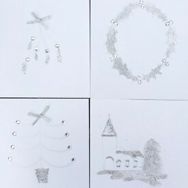 Christmas cards sparkling x4 personalised