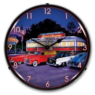 Nostalgic Style Red Arrow Diner Bruce Kaiser Art Backlit LED Lighted Wall Clock