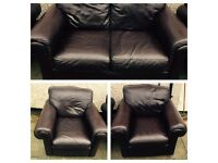 Brown leather sofa and chairs 3 piece suite. Free local drop off.