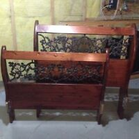 Solid wood and wrought iron twin bed and nightstand (needs work)