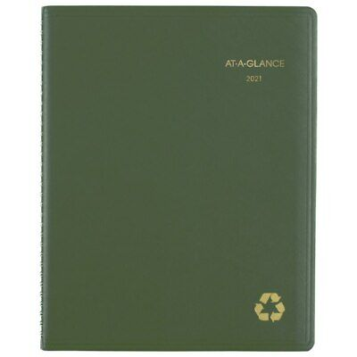 At-a-glance Weeklymonthly Planner 8-14 X 11 Green 2021 70950g60