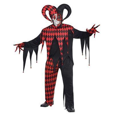 Mens Halloween Krazed Jester Clown Evil Fancy Dress Costume Outfit Plus Size XXL](Xxl Clown Costume)