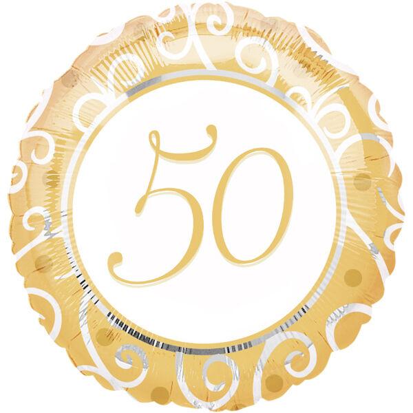 Folienballon - Jubiläum 50 Jahre Gold - Ø 43 cm Hochzeit Ballon NEU