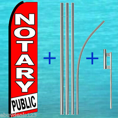Notary Public Feather Flutter Flag 15 Pole Mount Swooper Bow Banner Sign