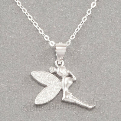 Silver Fairy Wings (STERLING SILVER Fairy Necklace TINKERBELL Pendant .925 925 18