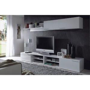 Liona Tv Unit Living Room Furniture Module Cupboard Shelf White Gloss Melamine Ebay