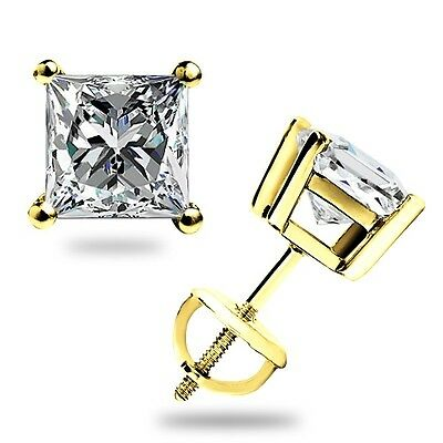 1.55 Ct Princess Cut Stud Earrings Lab Diamond Solid 14K Yellow Gold Screw Back ()