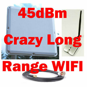 45dB WIFI USB Wireless Range Booster Outdoor Antenna Cable Combo
