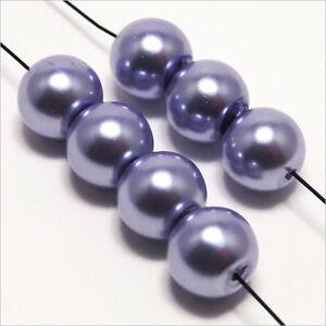 30-perle-Madreperlaceo-8mm-Lilla-chiaro-vetro-Boemia